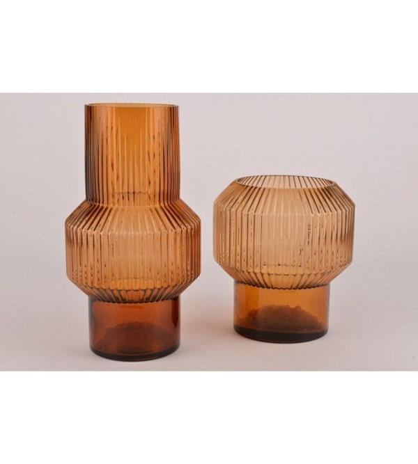 Vase Rillen Glas braun 18x20cm (1)